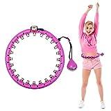Vogvigo Smart Hula Hoops, Hula Hoop Fitness Neumáticos Masaje Nunca Caída Yoga Hula Hoop Pesa Artefacto Equipo Deportivo Adecuado para Adultos y Niños/24 nudos (Púrpura)
