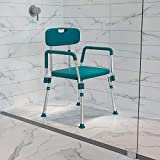 Flash Furniture HERCULES Series 300 Lb. Capacity Adjustable Teal Bath & Shower Chair with Quick Release Back & Arms