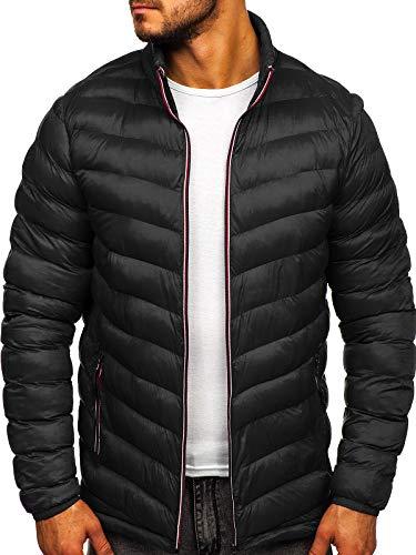 BOLF Herren Übergangsjacke Steppjacke Daunenjacke Sportjacke Freizeitjacke Reißverschluss Street Style J.Style SM71 Schwarz XL [4D4]