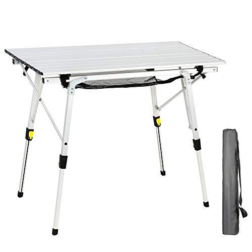 HWZQHJY Mesas Plegables de Camping Mesa Cuadrada Rueda for Arriba el Aluminio portátil con Patas de Aluminio de Altura Ajustable Roll Up Table Top Capa de Malla (Size : Table Area-35.4'' L x20.9'' W)