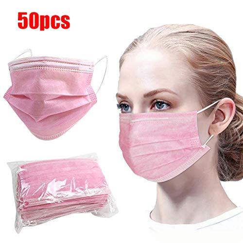 LILIGOD 50 Stück Einmal-Mundschutz Rosa, Staubschutz Atmungsaktive Mundbedeckung, Erwachsene, Bandana Face Cover Sommerschal (A 50pc)