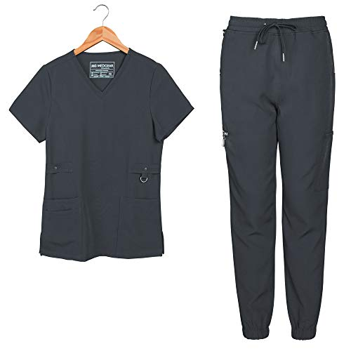 Medgear Women's Utility Slim Fit Scrub Set with Metal Snap Detail Top and 6-Pocket Jogger Style Pant (Charcoal, 2XL)