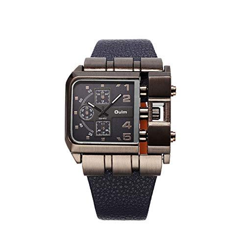 Lepeuxi OULM Quarzuhr Männer Platz Dial Lederband Uhren Männliche Antike Armbanduhr