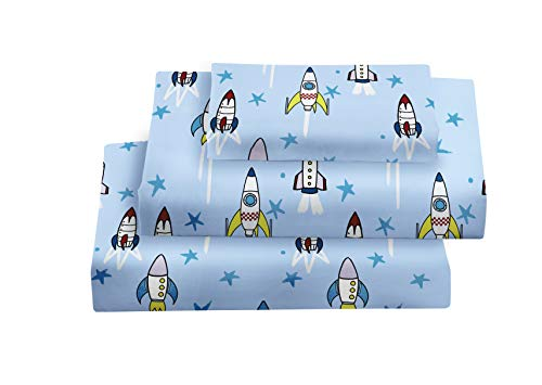 softan Twin Bed Sheet Set for Kids, 3 PC Rocket Ship Printed Brushed Microfiber Kids Bedding Set, 1 Flat Sheet,1 Deep Pocket Fitted Sheet, and 1 Pillow Case, Breathable & Silky Soft Feeling Sheets
