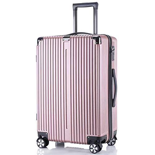レーズ(Reezu) スーツケース ファスナー 軽量 キャリーケース ジッパー 耐衝撃 キャリーケース 機内持込 キャリーバッグ 人気 大型 TSAロック付 静音 旅行出張 1年保証 アップグレード版 ピンク Pink Lサイズ 約98L