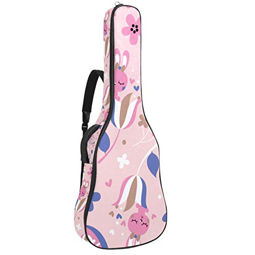 Acoustic Guitar Bag Waterproof Guitar Case 41 42 inch Guitar Gig Bag 10MM Padding with Back Hanger Loop and Pocket for Music Sheet Stand Pink Cute Rabbit