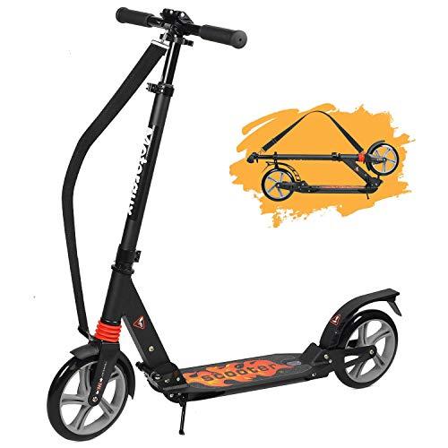 MOTORAUX City Roller Scooter Erwachsene, Klappbar & Höhenverstellbar Tretroller, 200MM Big Wheel Scooter Cityroller Erwachsene Mit Doppelfederung Und Tragegurt