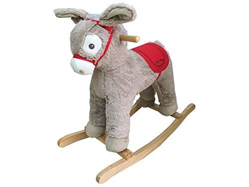 Dunjo® Schaukelpferd Esel | Plüsch Baby Schaukel-Esel | Schaukeltier | 74x30x64cm | aus Holz mit Soundmodul