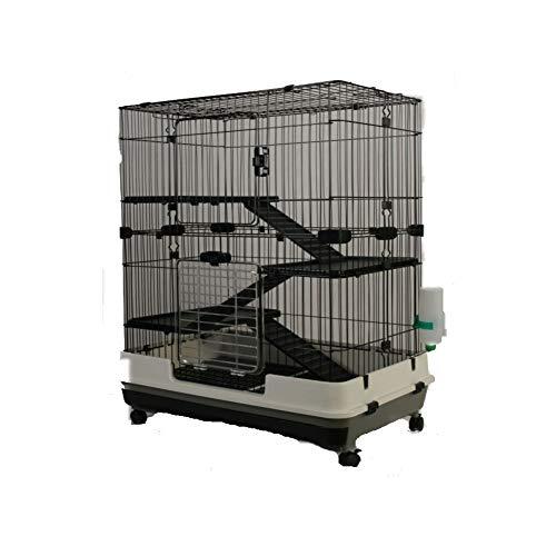 MyPets - Gabbia per roditori Big Cage XL 110x75x50 cm con cassetto per Una Facile Pulizia - voliera per Degu, cincillà, furetti, gerbilli & Co - con Ripiani e scalette su Ruote