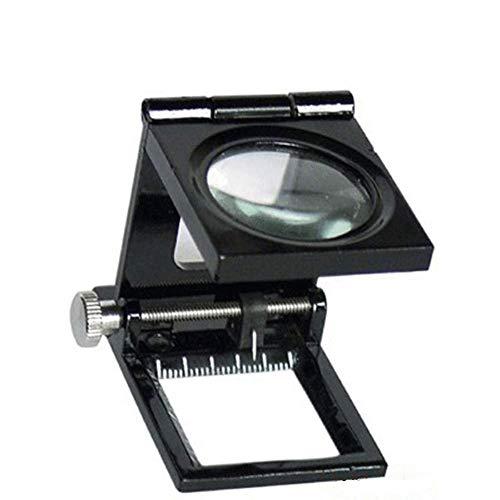 Mnjin Tragbare Faltlupe 10-mal mit Lampe Desktop-Lupe 10-mal nach Stoffspiegel mit Skala 47MMtimes; Phi; 30