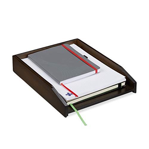 Relaxdays Briefablage stapelbar, DIN A4 Papier, Büro, Schreibtisch, Dokumentenablage Bambus, HBT: 6 x 25 x 33 cm, braun