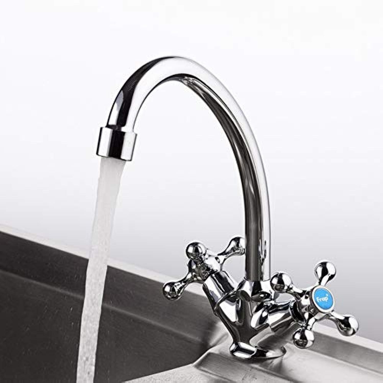 Lddpl Wasserhahn Küchenarmatur Im Klassischen Stil Mit Kaltem Und Warmem Wasser Mischbatterie Mit Doppeltem Griff Und 360-Grad-Drehung