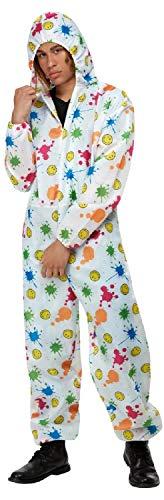 Fancy Me Herren Bunt Smiley Splat Boiler Anzug 90er Jahre Raver 1990er Jahre Party Festival Karneval Hirsch Do Kostüm Kostüm Outfit M-XL
