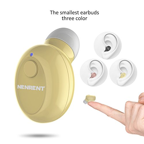 NENRENT S590 Bluetooth Earbud,Smallest Mini Invisible V4.1 Wireless Bluetooth Headset Headphone Earphone with Mic Hands-Free Calls for iPhone iPad Samsung Galaxy LG HTC and Smartphones (Nude)