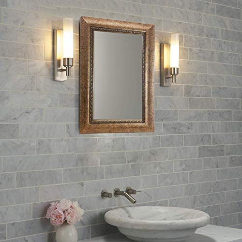 "Gold Framed Wall Mounted Mirror - Modern Design with Nice Border and Pattern. - Great for Vanity, Bedroom, Hallway, and More. Measures 23"" X 16""."