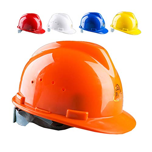 GFYWZ Schutzhelm, Kopfschutz - 4 Punkte Textilgeschirr Rad Ratsche Entlüftete Schutzhelme Bauhelm,Orange