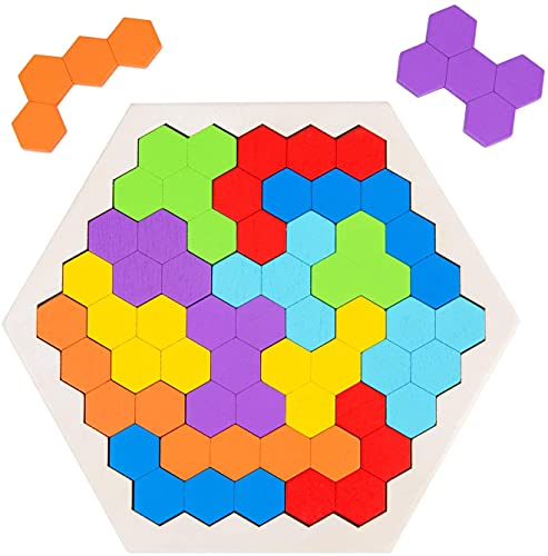 Wooden Hexagon Puzzle for Kid Adults, Shape Pattern Block Tangram Brain Teaser Toy Geometry Logic IQ Game STEM Montessori Educational Gift for All Ages Challenge