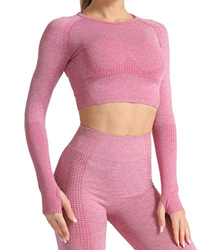Lalamelon Camiseta Deportiva Mujer Manga Larga sin Costuras Yoga Gym Crop Top Deporte para Fitness Running Gimnasio Elásticos y Transpirables (Vino Rojo,S)