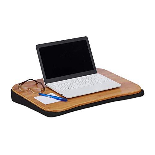 Relaxdays, Natur Laptopkissen Bambus, abnehmbares Kissen, Tragegriff, Laptop Unterlage BxT: 51 x 37 cm (bis 22 Zoll), Standard