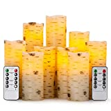 "Flameless Flickering Candles with Birch Bark Effect LED Candles 4""/5""/6""/7""/8""/9"" Set of 9 Battery Candles Real Wax Pillar with 10-key Remote Control - 2/4/6/8 Hours Timer"