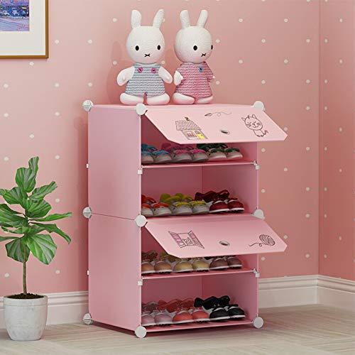 REGEN Zapatero para niños Puerta de múltiples Capas de Dibujos Animados Lindo Dormitorio Simple niña pequeña Tres Colores hogar Almacenamiento para bebés Zapatero/Pink