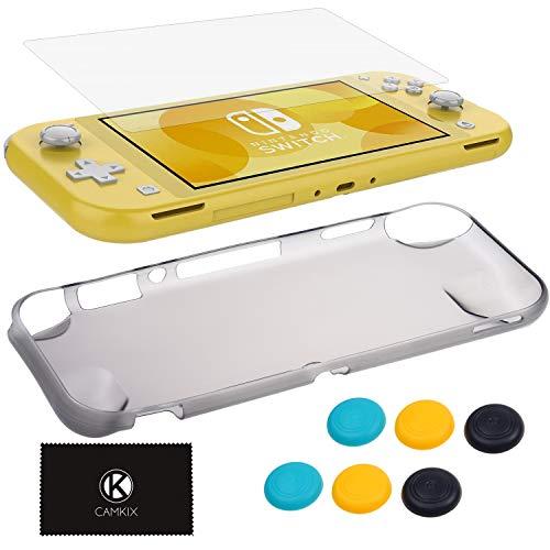 Camkix Griffschutz Kit kompatibel mit Nintendo Switch Lite 1x TPU Gehause Transparent Schwarz 6x Daumen Griffkappen Bildschirmschutz Reinigungstuch Griff kratzfest komfortabel