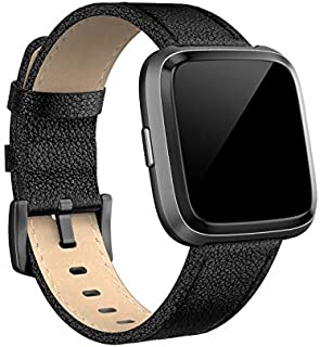 SWEES Compatible for Versa Bands Leather Small & Large, Genuine Leather Band with Stainless Steel Buckle Strap Replacement Wristband Compatible for Versa Women Men, Rose Gold, Black