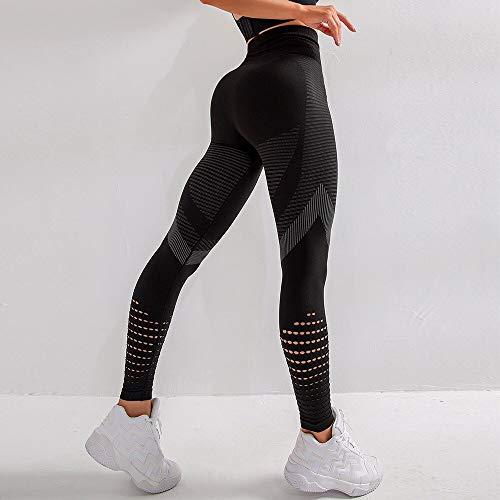 Opprxg Leggings de Yoga Huecos para Mujer Pantalones Deportivos Push-up de Cintura Alta Rayas Transpirables Leggings sin Costuras Fitness Gym Leggings
