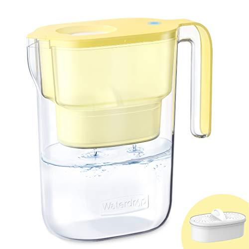 Waterdrop Elfin NSF Certificato 2.5L Caraffa Filtrante per Frigorifero con 1×90 Giorni Filtro, Riduce Piombo, Fluoro, Cloro e Altro, Senza BPA, Giallo (Filtro di Ricambio: WD-PF-01A Plus)
