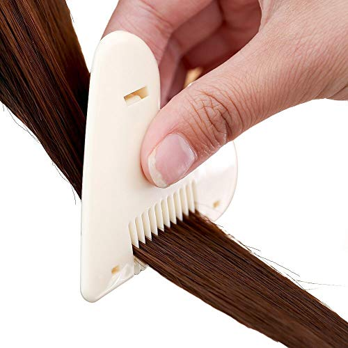 100FIXEO Razor Comb, Split End Trimmer With Stainless Steel Cutting Thinner Hair Removable Tinkle Hair Cutter For Women (Beige)