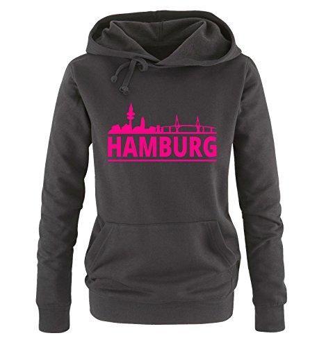 Comedy Shirts Hamburg - Skyline - Damen Hoodie - Schwarz / Pink Gr. M