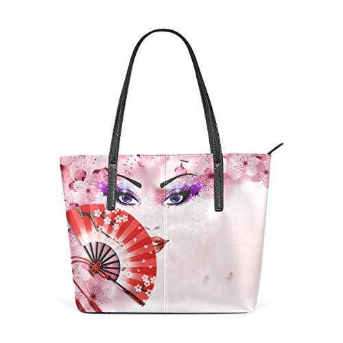 AMONKA Damen/Mädchen Handtasche, japanisches Sakura mit abstraktem Malerei, Leder, Pink