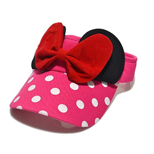 TUOLUO Summer Baby Sun Hat Cute Big Bow Girls Gorra De Béisbol Cartoon Dot Empty Top Niños Sombrero Sunscreen Visor Caps Rosa Rojo