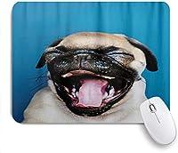 """ゲーミングマウスパッド、かわいいパグ子犬おかしい表現犬、9.5"""" x7.9""""ノートブック用滑り止めラバーバッキングマウスパッドコンピューターマウスマット"""