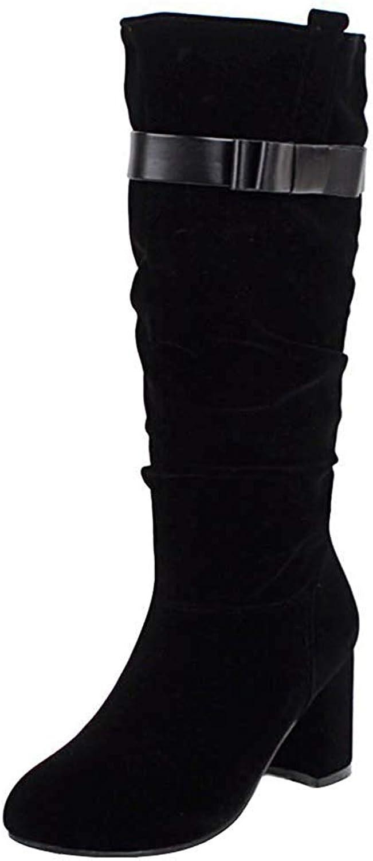 Lelehwhge Women's Bow Slouchy Round Toe Medium Block Heel Pull On Mid Calf Boots Black 9 M US