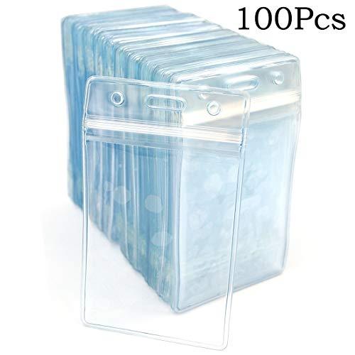 Tarjetero de identificación para etiqueta de nombre, 50 unidades, plástico transparente, vertical, soporte para insignias