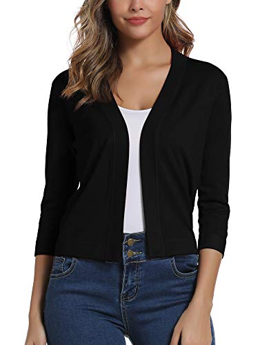 Women's Open Front Half Sleeve Sweater Cardigan (S, Black)