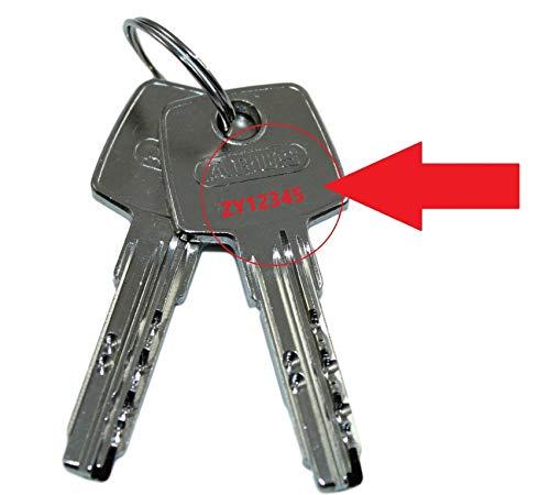ABUS Nachschlüssel | Ersatzschlüssel nach Code für vorhandene ABUS Profilzylinder der Serie D6X, Schließungsnummer von ZY00001 bis ZY30000 lieferbar, Original ABUS Rohlinge