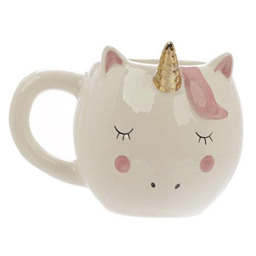 Close Up Süßer außergewöhnlicher 3D Einhorn Kaffeebecher - XXL 320 ml - Keramik Tasse - Kawaii - weiß/rosa - goldenes Horn