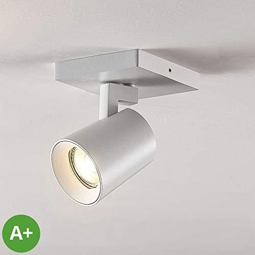 Lampenwelt Strahler 'Iavo' dimmbar (Modern) in Weiß aus Metall u.a. für Flur & Treppenhaus (1 flammig, GU10, A+) - Deckenlampe, Deckenleuchte, Lampe, Spot, Flurleuchte