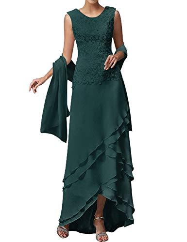 HUINI Damen Abendkleider Chiffon Brautmutterkleider mit Stola Lang Groß Größen Hochzeitskleider Ballkleider Dunkelgrün 40