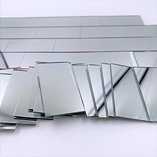 NUORUI azulejos rectangulares de cristal plateado con forma de ladrillo de azulejos de cristal de 2,5 x 5 cm, 60 piezas 25mm x 50mm plata