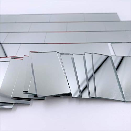 Nuorui rechteckige Spiegelmosaikfliesen, 2,5 x 5,1 cm, Ziegelform, silberfarben, Glasfliesen, 60 Stück (25 x 50 mm)