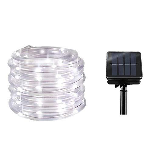 DZHT 12M Lámpara Solar LED Cadena De Luces De Hadas Flash 100 LED PVC Tubo De Arco Iris Impermeable para Halloween Decoración De Jardín De Navidad White