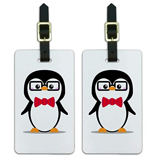 Cartoon Penguin Bow Tie and Glasses Luggage ID Tags Cards Set of 2