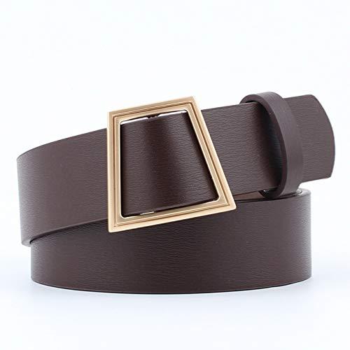 SENFEISM Cinturón para Mujer Diseñador Hip Hop Cinturones para Mujer Hebilla Dorada Negro Blanco Rojo Marrón PU Cuero Cintura Correa Cintura