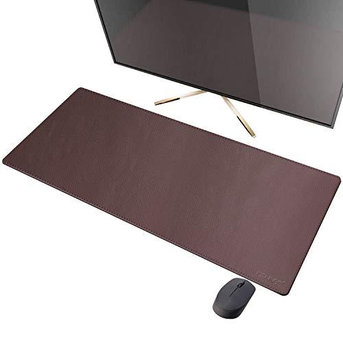 CENNBIE Misura XXL Tappetino per Mouse Pelle Sintetica Superficie Mouse Pad Antiscivolo Bordi Cucito 900x400mm(Marrone)