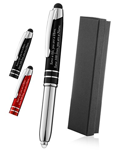 """Nurse Gift Pen 3-In-1 Pen,Stylus,and Led light With Engraved Inspirational Quote """"Save a Life, You are a Hero, Save 100 Lives You are a Nurse"""" Black - By SyPen"""
