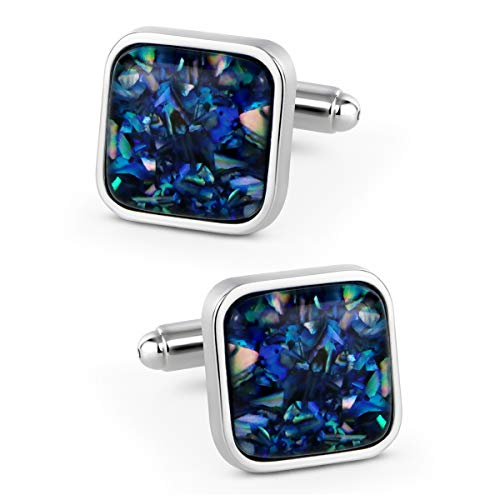 VIILOCK Fancy Nebula Mother of Pearl Square Cufflinks Deep Space Cuff Links Set for Men (Deep Blue)