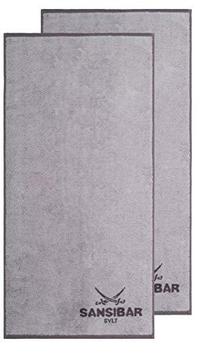 Sansibar Duschtuch 2er Set 70x140 cm 100% Baumwolle Handtuch Doubleface Frottiertuch Zweifarbig Silber/Anthrazit